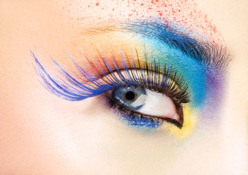 close up of eye with multicolored make-up